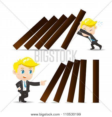 Business Man Push Domino