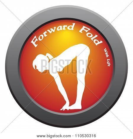 Yoga Forward Fold With Lift Pose Red Icon