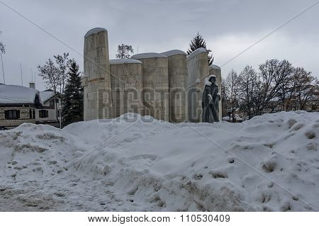 Monument of Paisius of Hilendar at square in Bansko town, Bulgaria