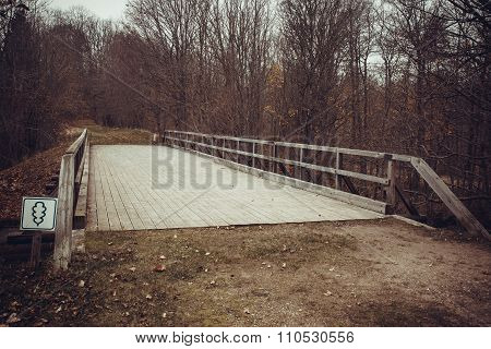 Wooden plank bridge