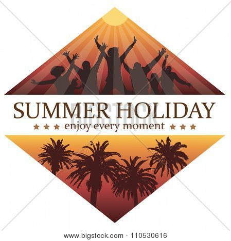 Party in Paradise. Young People Dancing on the Holiday. Travel and Vacation Background for T-shirt.