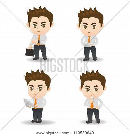 Cartoon Business Man And Technology