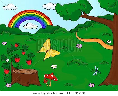 Forest Glade With A Stub, Strawberries, Butterfly, Trees, Rainbow And Flowers