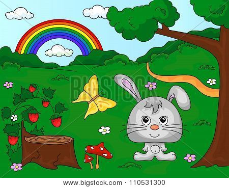 Forest Glade With A Hare, Stub, Strawberries, Butterfly, Trees, Rainbow And Flowers