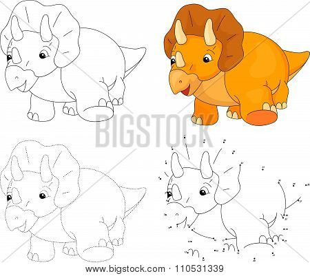 Cartoon Triceratops. Vector Illustration. Dot To Dot Game For Kids