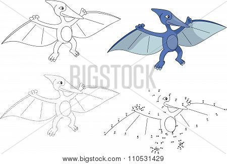 Cartoon Pterodactyl. Vector Illustration. Dot To Dot Game For Kids