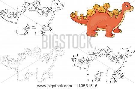 Cartoon Stegosaurus. Vector Illustration. Dot To Dot Game For Kids