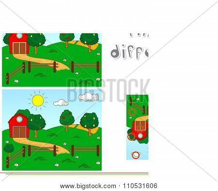 Rural Landscape With Barn, Corrals, Fruit-trees And Fields. Educational Game For Kids: Find Ten Diff