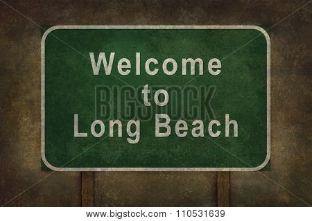 Welcome To  Long Beach Roadside Sign Illustration