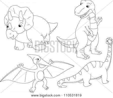 Set Of Diplodocus, Tyrannosaur, Pterodactyl And Triceratops. Coloring Book For Kids