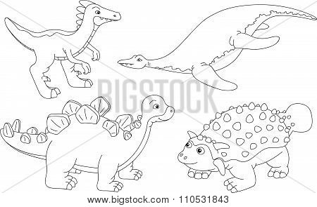Set Of Pliosaur, Stegosaurus, Ankylosaurus And Guanlong. Coloring Book For Kids