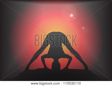 Yoga Wide Legged Forward Fold Pose Glare Background
