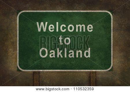 Welcome To Oakland Roadside Sign Illustration