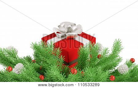 Christmas Decoration With Red Gift Isolated 3D Rendering
