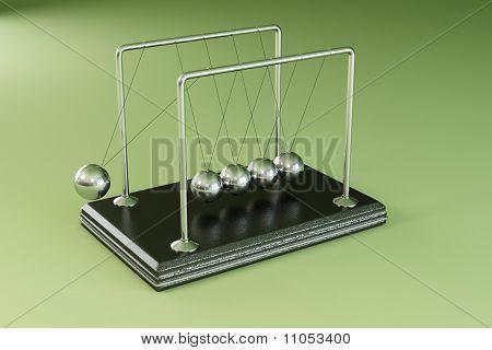 Pendulum On Green Background. 3D