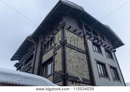 Street at winter in Bansko town, Bulgaria