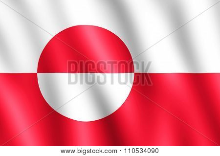 Flag Of Greenland Waving In The Wind