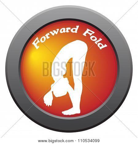 Yoga Forward Fold Pose Red Icon