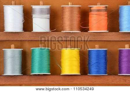 Threads On Wooden Box