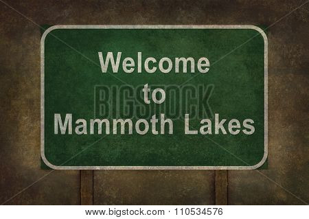 Welcome To Mammoth Lakes Roadside Sign Illustration