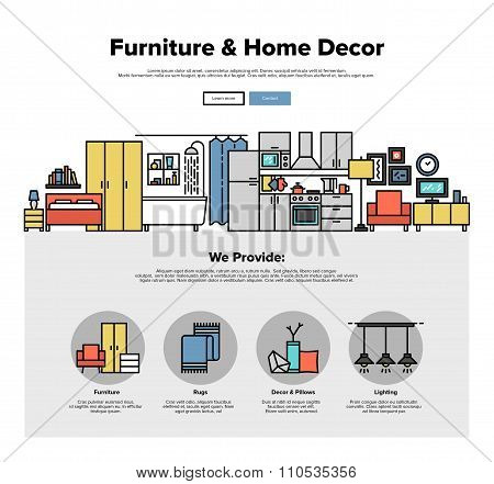 Home Decoration Flat Line Web Graphics