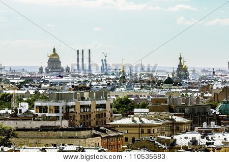 View The Sights Of The City From A Height In St. Petersburg.russia.