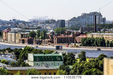 View Of The Prison Kresty And The Sights Of The City From A Height In St. Petersburg.russia.