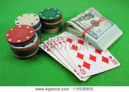 Royal Flush, Chips And Money
