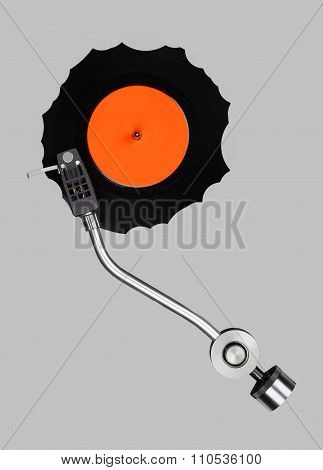 Abstract Grazed Vynil With Record Player Tonearm
