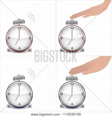 Boy and girl hands and stopped alarm clock