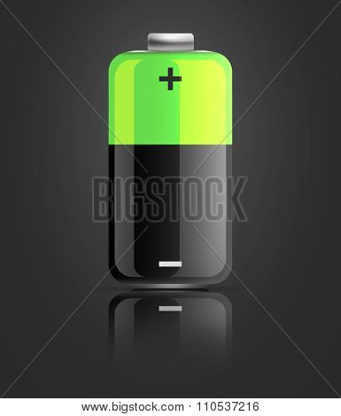 Battery Icon On Black Background
