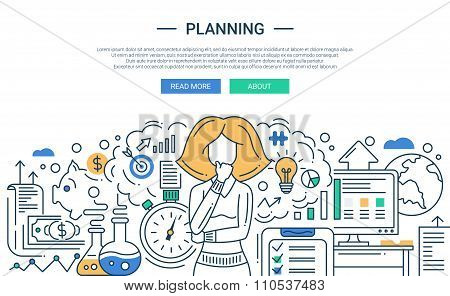 Illustration of modern line flat design planning process composition and infographics elements with