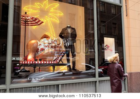 ST. PETERSBURG, RUSSIA - OCTOBER 18, 2015: Window of department store DLT, The oldest department store of St. Petersburg.