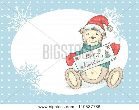 Christmas Card with toy bear in Santa hat
