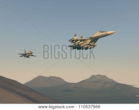 Turkish fighter attack on Russian bomber. Attack of the Turkish aircraft in the Russian plane. Raste