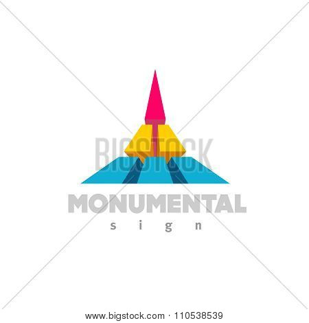 Monumental Logo. Colorful 3D Building Flat Color Style Sign.