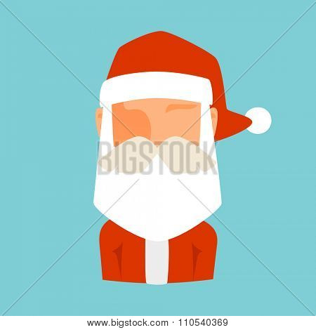 Santa Claus flat icon vector illustration. Santa Claus cartoot old man red hat silhouette. Santa Claus traditional costume. Santa Claus icon avatar face. Santa Claus face, faceicon. Christmas Santa