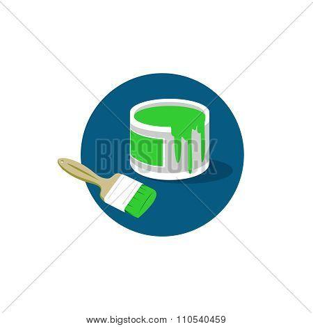 Brush Paint Bucket Logo