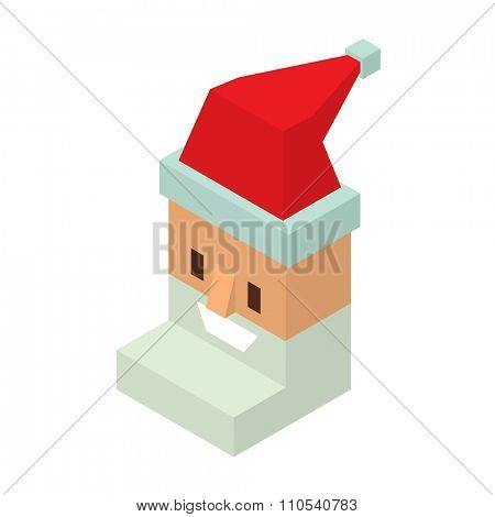 Santa Claus 3d flat isometric icon vector. Santa Claus cartoot 3d red red hat silhouette. Santa Claus traditional costume. Santa Claus icon avatar face. Santa Claus face, faceicon. Christmas Santa