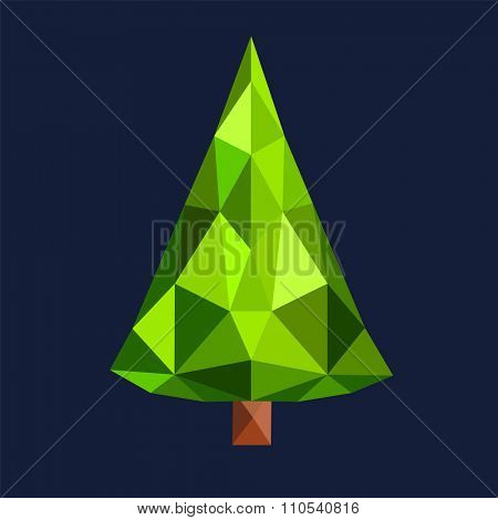 Christmas tree flat 3d lowpoly pixel art icon. Christmas triangle tree vector. New Year tree isolated. Christmas tree vector illustration. New Year tree low poly silhouette. Christmas decoration