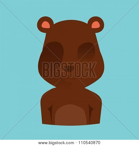 Bear face silhouette Illustration. Vector beer abstract avatar. Animal bear icon. Isolated beer silhouette. Bear brown color vector. Cute cartoon bear boy