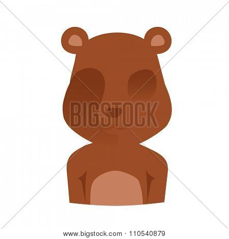 Bear face silhouette Illustration. Vector bear abstract avatar. Animal bear icon. Isolated bear silhouette. Bear brown color vector. Cute cartoon bear boy