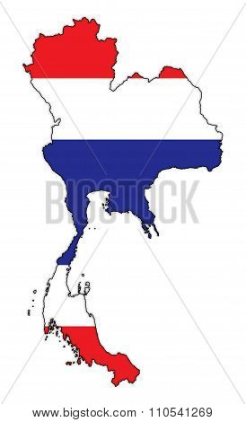 Thailand Flag In Map