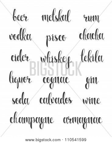 Set names of species alcohol in calligraphy handmade design menu.