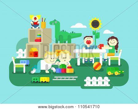 Kindergarten flat design