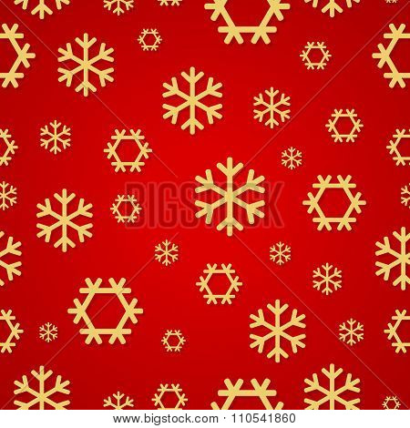 Red Snowflakes pattern for continuous replicate. Vector