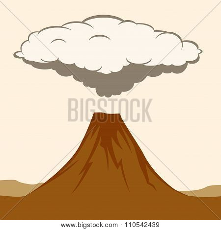 Volcanic eruption with clouds of smoke.