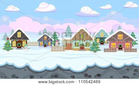 Seamless Winter Landscape With Holiday Houses For Christmas Game Design