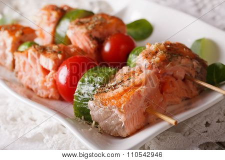 Grilled Salmon On Skewers Macro On A Plate. Horizontal