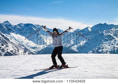 skier on snow hill, Solden, Austria, winter sport